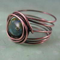 Bird's Nest Copper And Czech Picasso Texture Glass Ring | Luulla