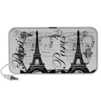 Vintage Paris Eiffel Tower Illustration Laptop Speaker from Zazzle.com