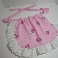 New Handmade Children's apron pink roses by purrfectstitchers