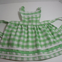 New Handmade Children's bib apron Large Green by purrfectstitchers