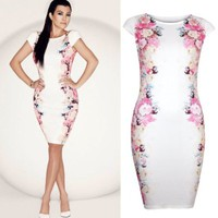 Forever Womens Celebrity Inspired Side Floral Bodycon Midi Dress