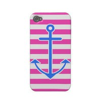 Pink Nautical Blue Anchor Iphone 4 Case from Zazzle.com