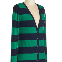 ModCloth Scholastic Mid-length Long Sleeve Delicious Date Cardigan in Navy and Green