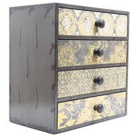 Gray & Yellow Patterned Box with 4-Drawers | Shop Hobby Lobby