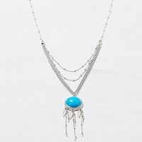 AEO Women's Turqouise Dreamcatcher Necklace (Silver)