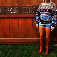 vintage 1980s oversized slouchy grandpa hipster sweater. aztec sweater. southwestern pullover