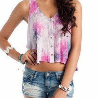tie-dye crop tank &amp;#36;28.80 in PINKLVDR - Sleeveless | GoJane.com