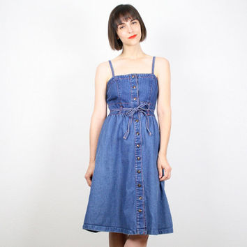 Vintage 70s Dress Denim Dress Belted Midi Dress Sundress Red Contrast Stitching 1970s Dress Hippie Dress Uniform Knee Length Dress S Small