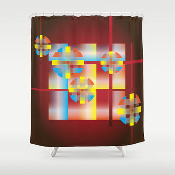 Plaid Circles Shower Curtain by Ramon Martinez Jr