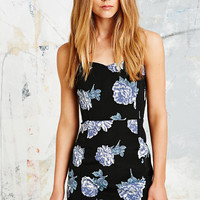 Pins & Needles Boned Floral Mini Dress in Black - Urban Outfitters
