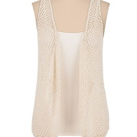 open stitch striped back hooded vest