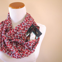 Red and Blue Floral Infinity Scarf with Pocket, 4th of July Accessory, Passport Holder, Money Belt