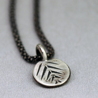 Small Charm Necklace - Oxidized Sterling Silver -  Pine Needle Design