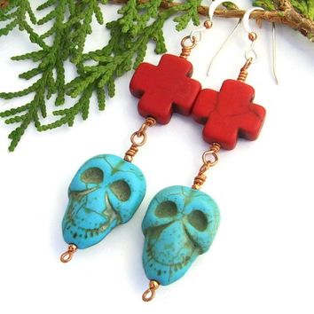 Halloween Jewelry Skull Crosses Handmade Earrings Day of the Dead OOAK