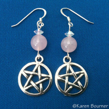 Rose Quartz Pentacle Pentagram Pagan Wiccan Earrings