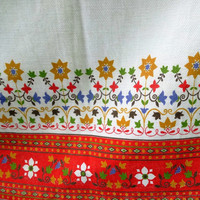 Pretty Vintage Hand Sewn Rod Pocket Curtains in Orange and White with Blue, Green, Brown, & Marigold
