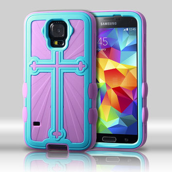 Metallic Cross Hybrid Protector Case for Galaxy S5 - Baby Blue/Purple