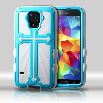 Metallic Cross Hybrid Protector Case for Galaxy S5 - Baby Blue/White