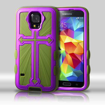 Metallic Cross Hybrid Protector Case for Galaxy S5 - Grape/Green
