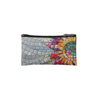 Floral Mosaic Bagettes Bag Cosmetics Bags from Zazzle.com