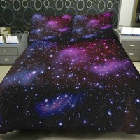 Anlye Galaxy Quilt Cover Galaxy Duvet Cover Galaxy Sheets Space Sheets Outer Space Bedding Set with 2 Matching Pillow Covers(FULL)