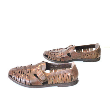 mens brown leather huaraches / woven leather sandals size 11