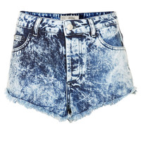 MOTO Brooke Acid Denim Hotpants - Indigo