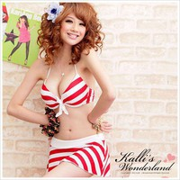 Wide tie neck, divided skirts, swimwear red and white fashion4us