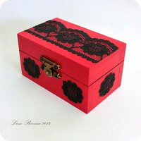 Small Red&black Lace Decoupage Wooden Box | Luulla