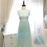 Seafoam Baby Blue Embroidery Tulle maxi long sundress pleated Pearl Peter Pan Collar