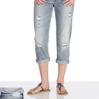 silver jeans co. ® aiko light wash destructed capri