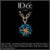 IDee Royal Blue Floral Pendant Neclace Fashion Earrings, Bracelet, Necklace,Wedding & Event Jewelry,