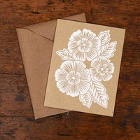 Blockprinted Card, Three White Flowers - Set of 6