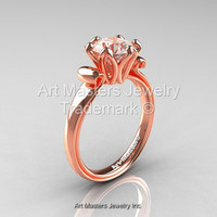 Modern Antique 14K Rose Gold 1.5 Carat Morganite Solitaire Engagement Ring AR127-14KRGMO