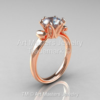 Modern Antique 14K Rose Gold 1.5 Carat Aquamarine Solitaire Engagement Ring AR127-14KRGAQ