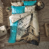 100% Cotton 3pcs Paris in Autumn Single Twin Size Duvet Cover Set Eiffel Theme Bedding Linens