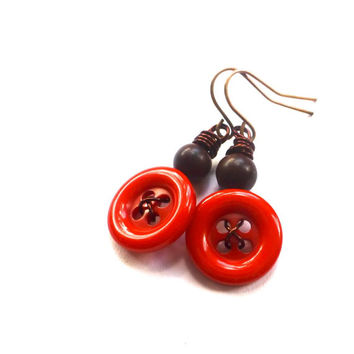 Bright Orange and Brown Vintage Button Earrings