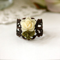 A Stalk of Tiny Ivory Cream Rose Filigree Ring  Sweet by Marolsha