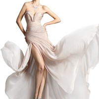 Champagne Sweetheart Chiffon Gown Prom Dress Formal Floor-length