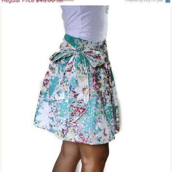 ON SALE Summer Turquoise Blue Mini Skirt with Sash by LoNaDesign