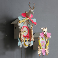 Large Neon Pink & Gold Cuckoo Clock. Working Condition.