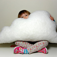 LARGE FLUFFY CLOUD Pillow / Cushion White Faux Sheepskin Fleece - Soft and Big rain cloud