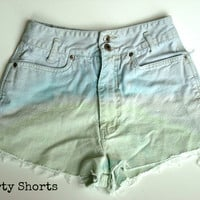 SALE High Waisted Ombre Shorts White Tie Dye by shortyshorts