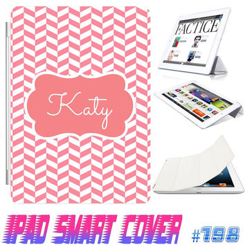 USA Custom Ipad Smart Cover Chevron Lattice Monogram IPad Air Smart Cover , IPad Mini Case  , IPad 4/3/2 Case Magnetic Sleep Wake Case #198