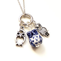 Owl Charm Necklace, Blue & White Owl Bead with Charms, Owl Jewelry, Charm Jewelry