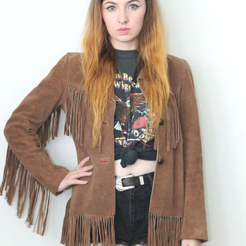 Vintage 60s 70s Southwestern // Genuine Suede Fringe Jacket // Made in Mexico // Brown Tan // Size XS Extra Small / Small