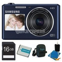 Samsung - Bundle DV150F Dual-View 16.2 MP Smart Camera with Built-in Wi-Fi - Cobalt Black
