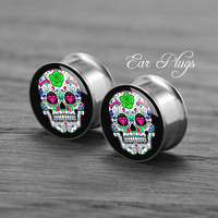 Flower skull    Silver steel stain ear gauge,  tunnel  plugs,Stainless Steel Screw Ear Gauges, 2g, 0g, 00g,/16,1/2, 5/8,3/4