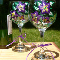 Hand Painted Wine Glasses With Purple Flowers