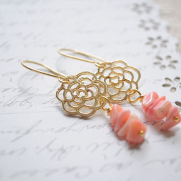 Rose coral Earrings  Beach earrings  Coral by littlejarofhearts